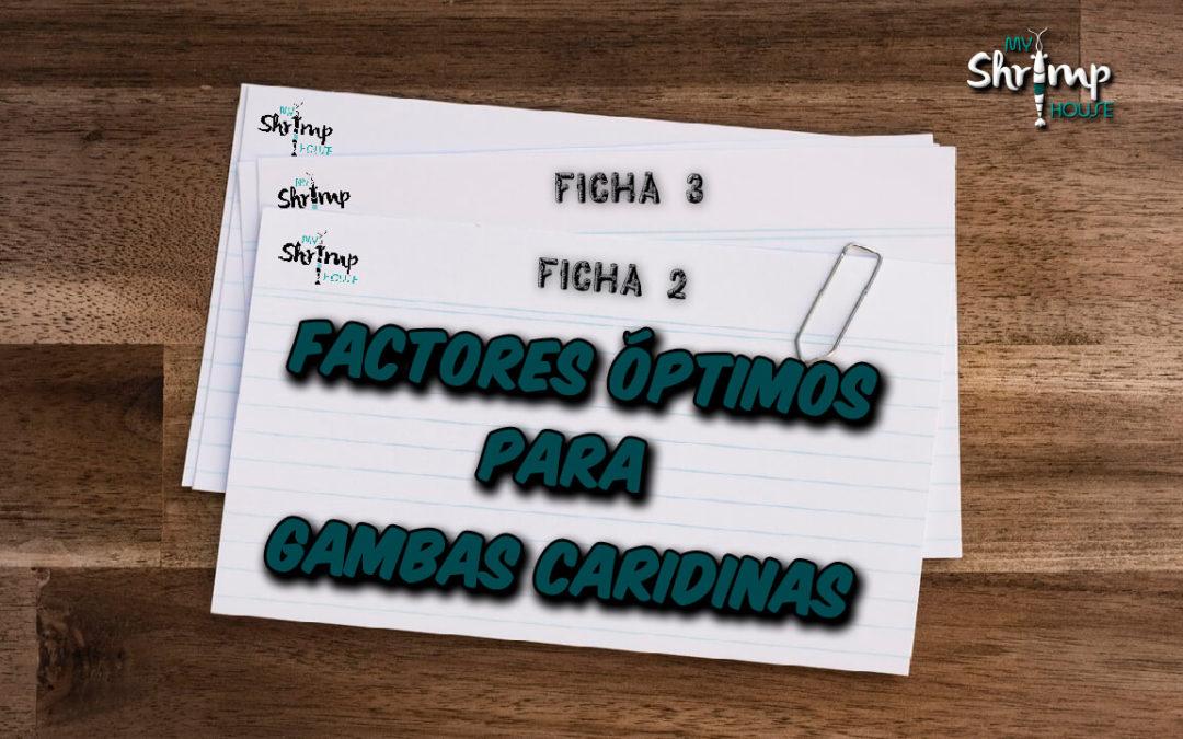 Factores óptimos para Caridinas Ficha 2